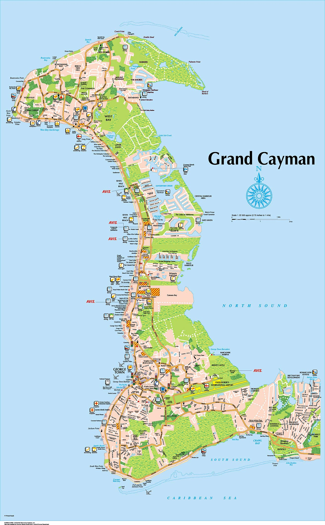 7 Mile Beach Full Size Map Grand Cayman Island Map
