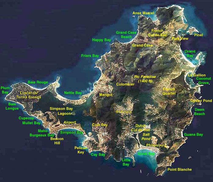 St Martin St Maarten Map Gallery General Island Map beaches